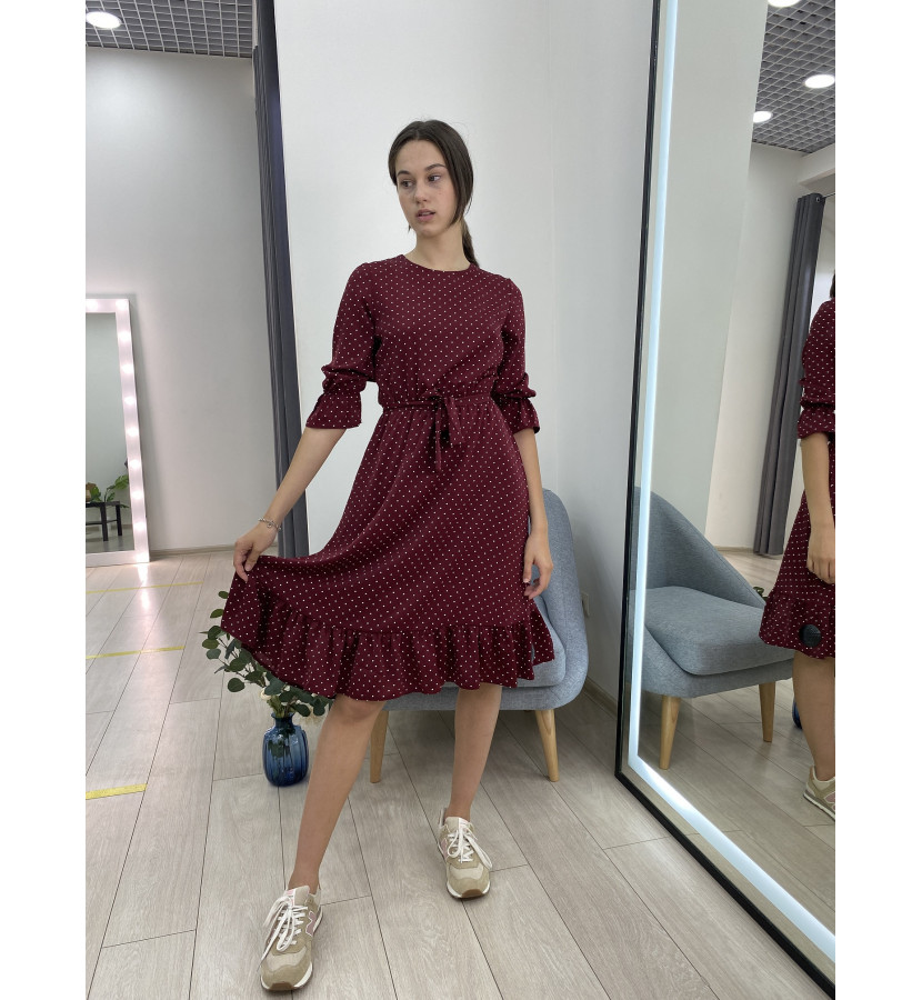 Платье миди в гороз с воланами с поясом