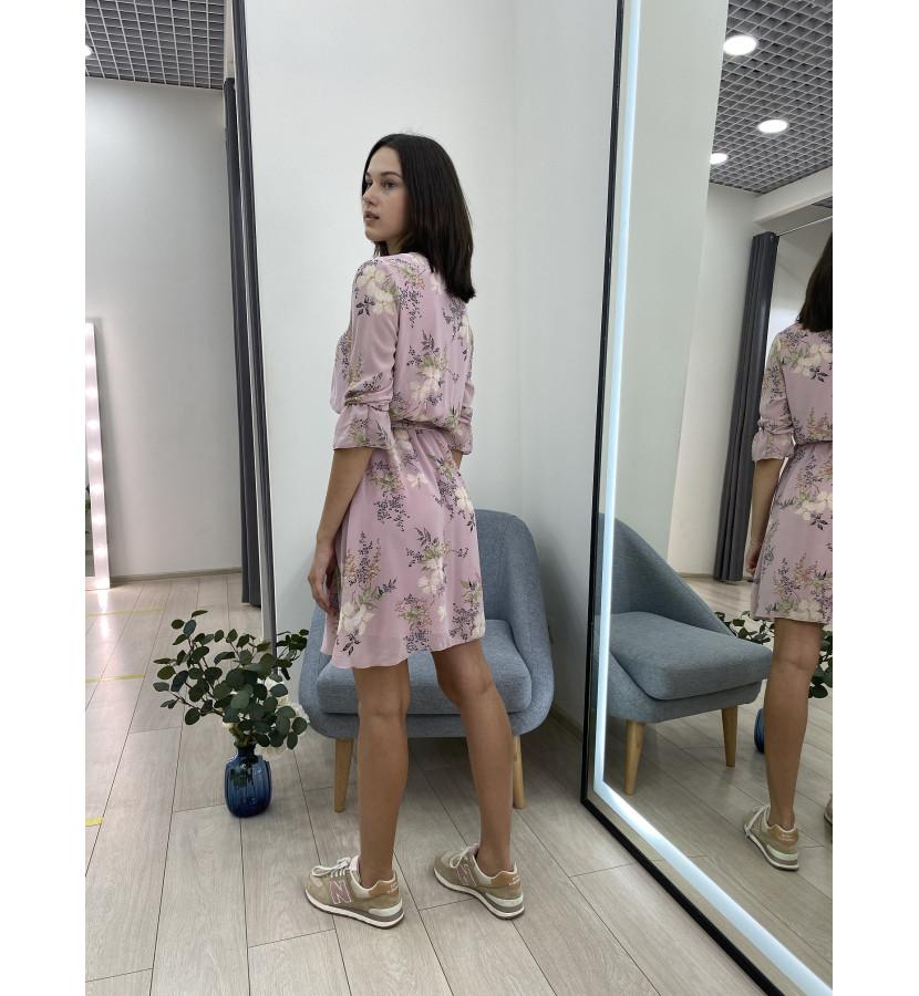 Платье с принтом в цветочек на резинке