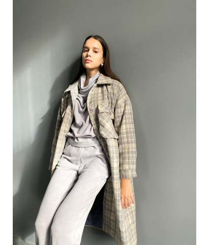Куртка - рубашка в клетку удлиненная с теплым подкладом
