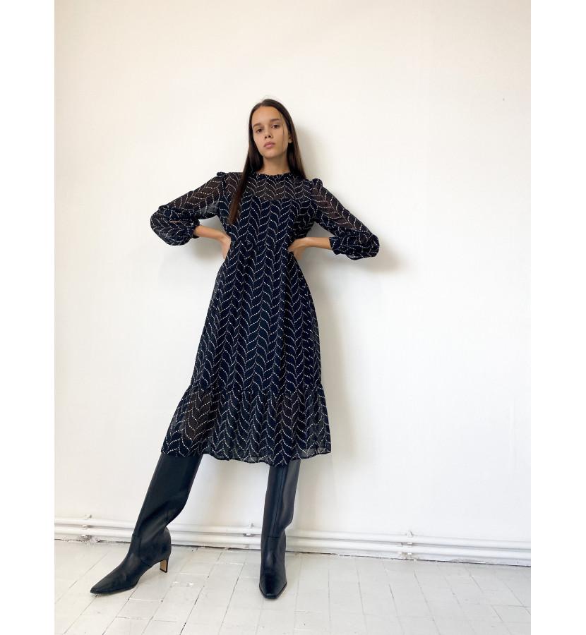 Платье шифоновое, расклешенное с принтом