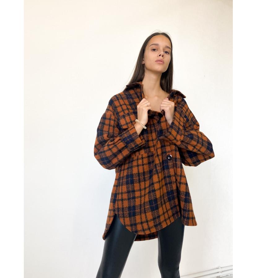 Рубашка - куртка в клетку, свободного кроя