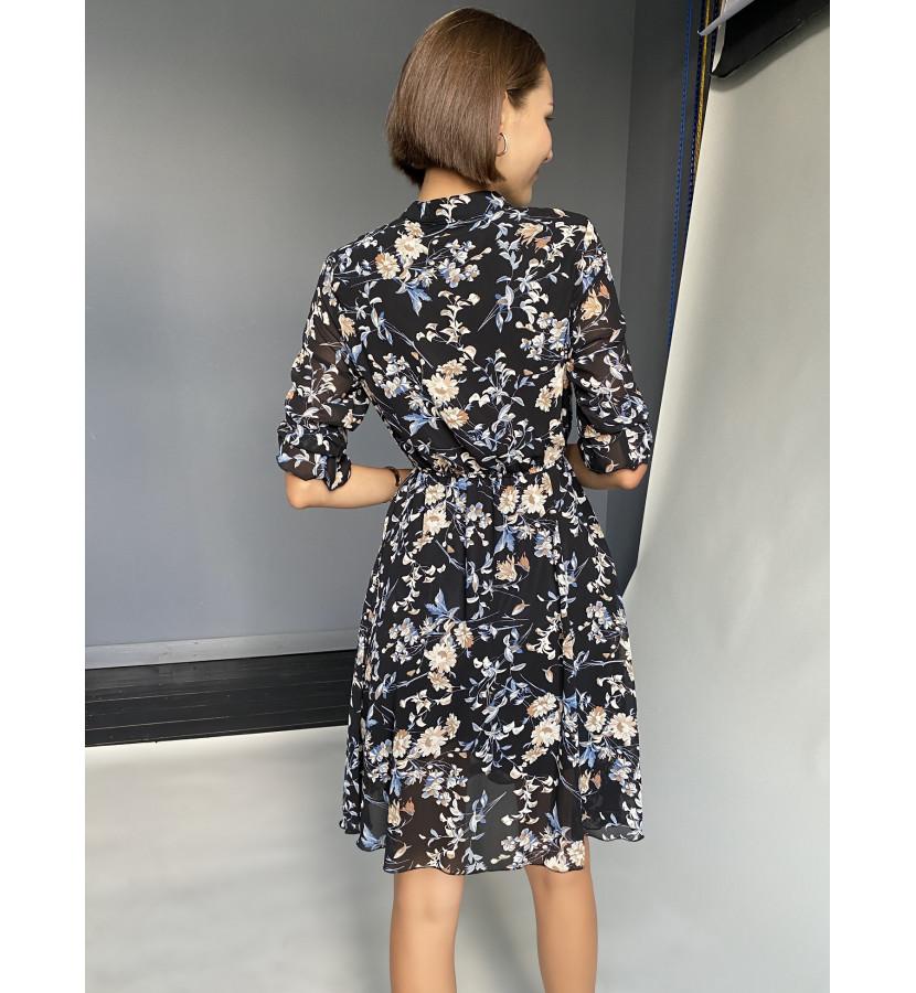 Платье - мини с принтом в цвенточек