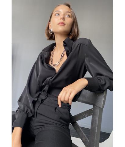 Блуза на пуговицах, рукава волан