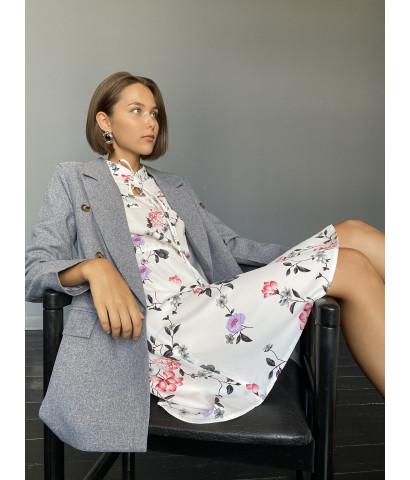 Платье мини в принт в курпный цветочек