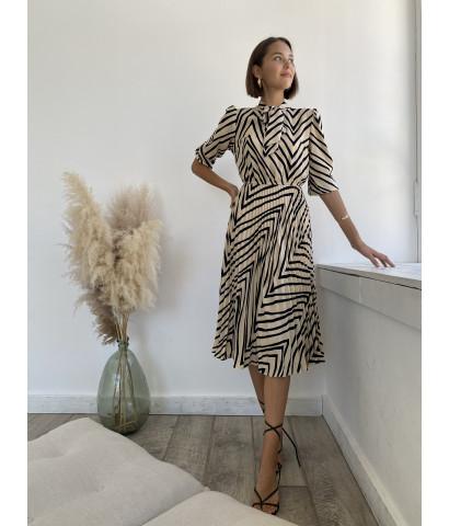 Платье  миди , юбка плиссированная , принт зебра