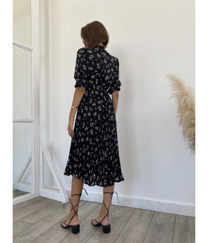 Платье в цветочек ,юбка плиссе, длина миди
