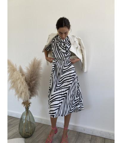 Платье миди, юбка плиссированная, принт зебра