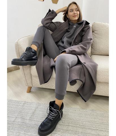 Пальто - рубашка длина миди из рлотной ткани
