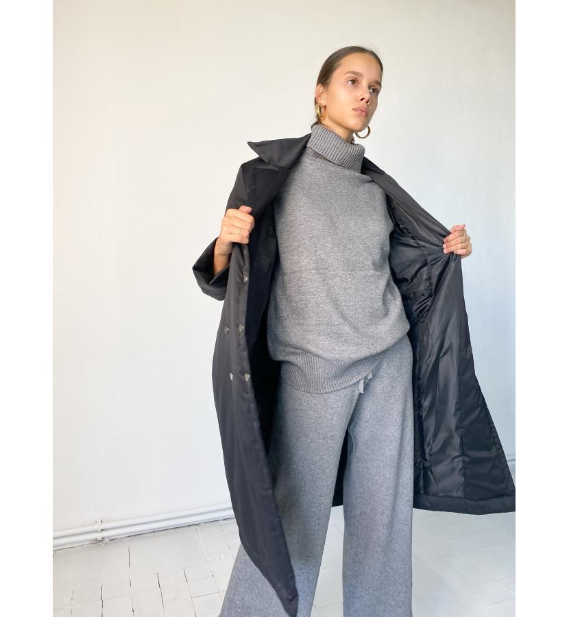 Куртка - пальто на заклепках, длина миди