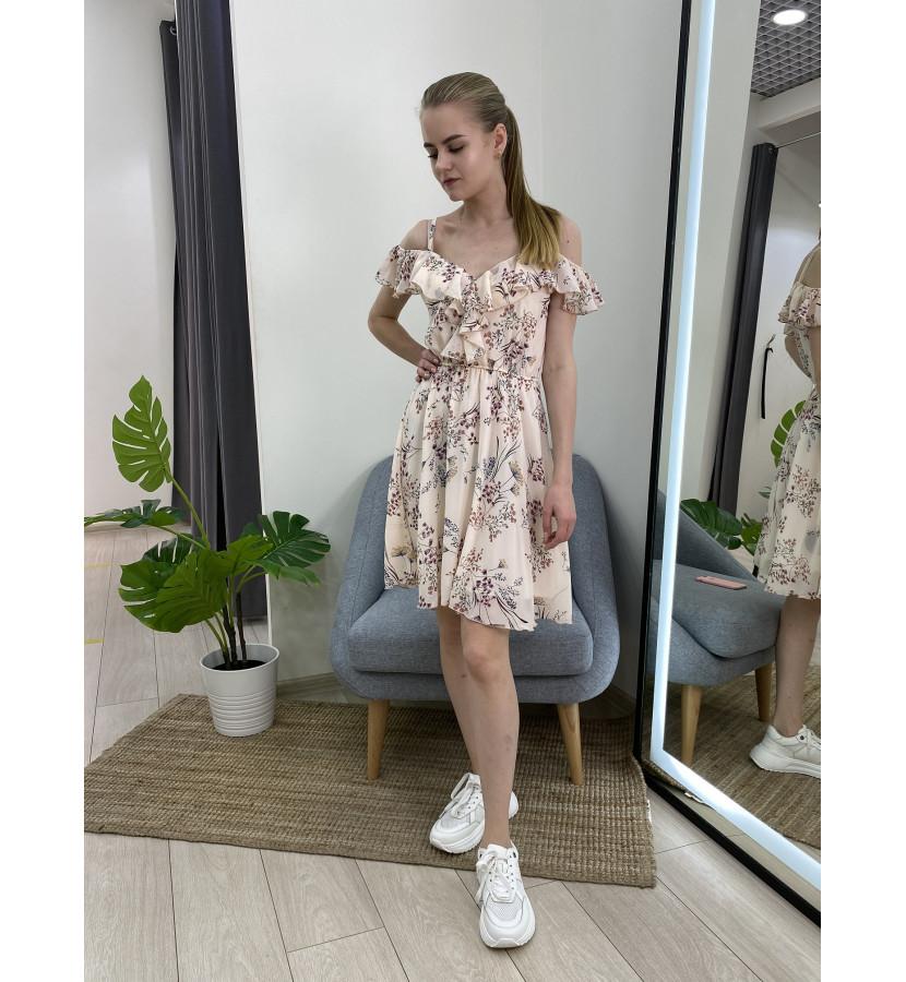 Платье шифоновое с рюшами
