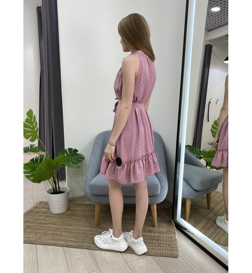 Платье без рукавов в мелкий горох
