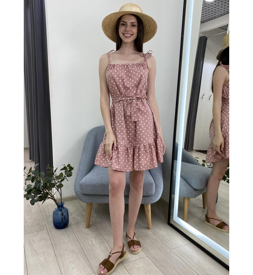 Платье мини на завязках в горох