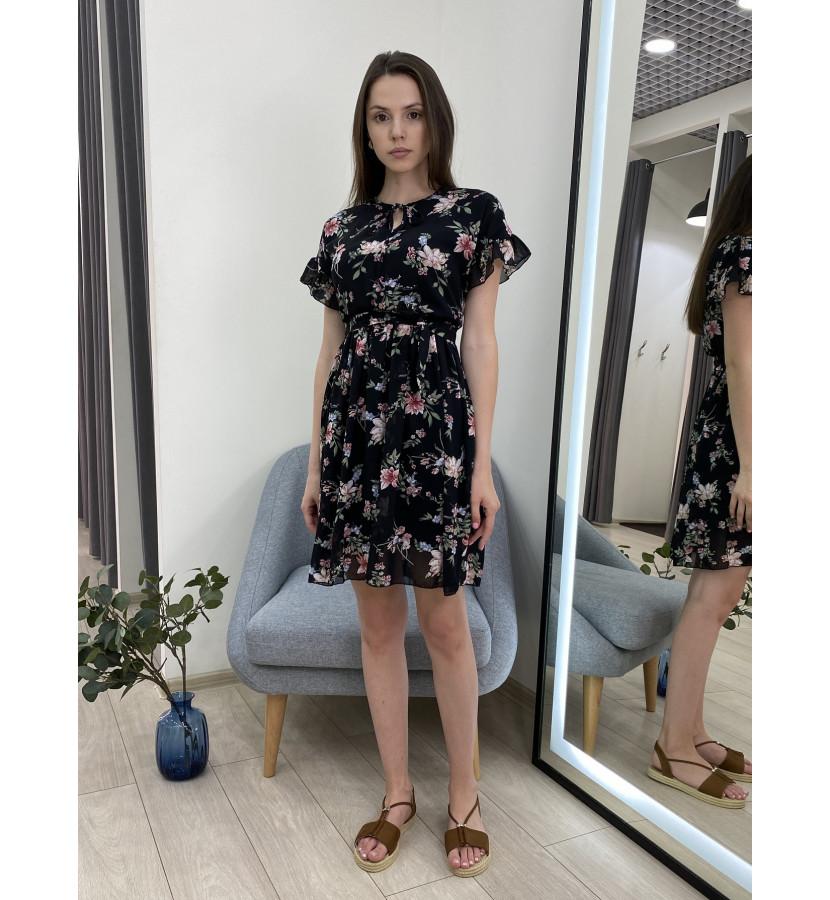 Платье - мини с рюшами