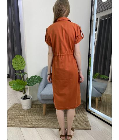 Платье в стиле милитари на пуговицах
