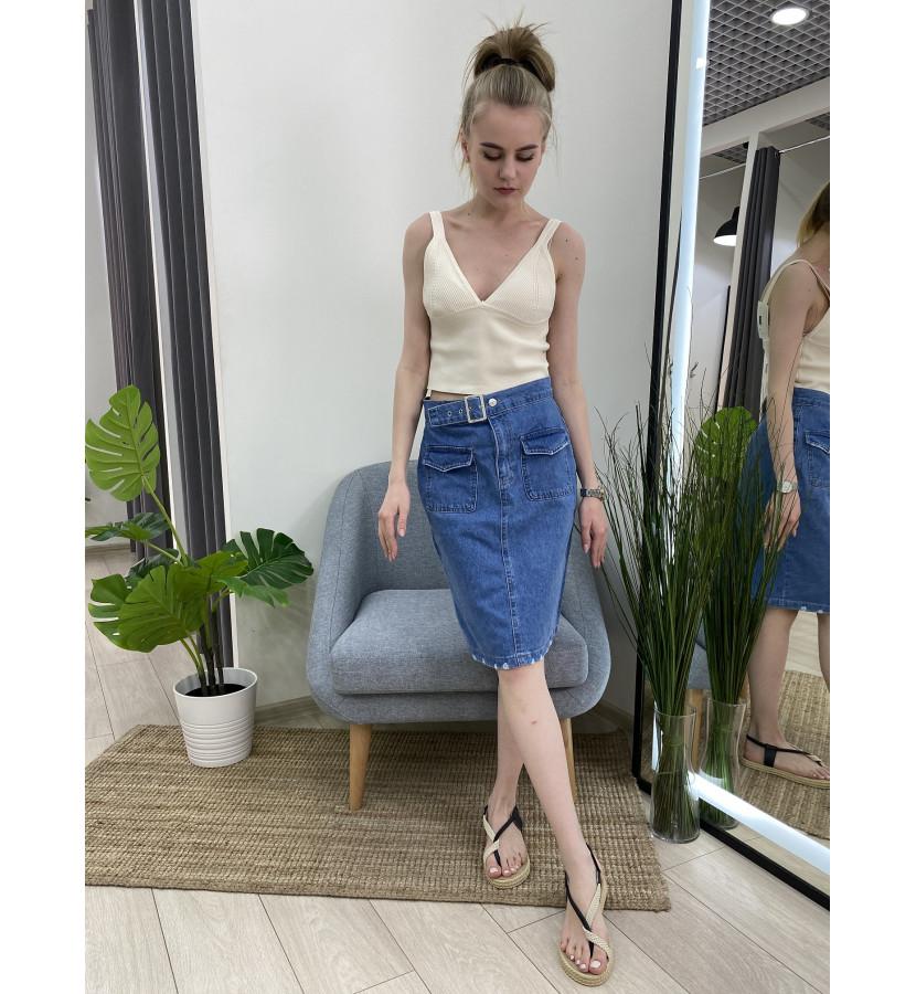 Юбка джинсовая карандаш с ремнем