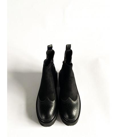 Ботинки из вставки эко - кожи, основная из эко-замши
